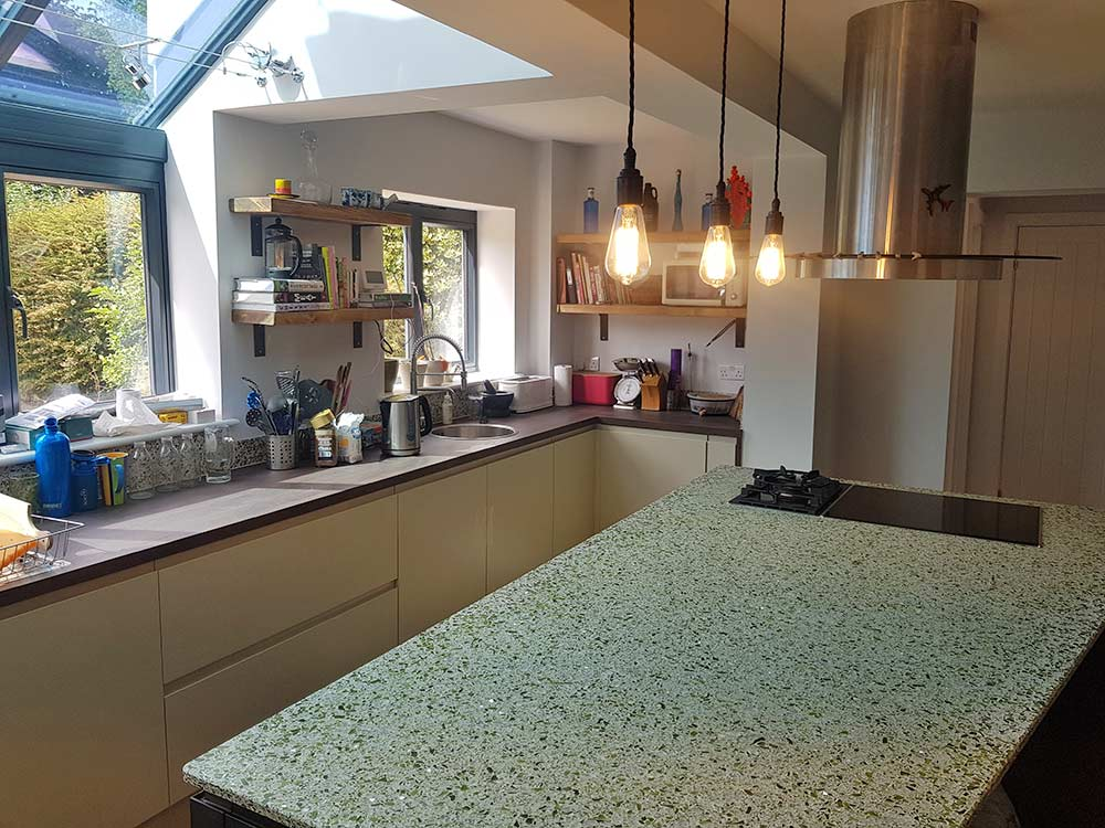 Recycled Glass Kitchen Island Worktop